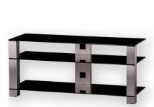 PL 3400 B-INX - stolek 3 police, černá skla - nerezové nohy