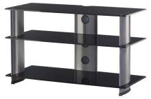 PL 3105 B-SLV - stolek 3 police,černá skla - stříbrné nohy
