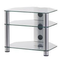 RX 2130 C SLV - hifi stolek 3 police, stříbrný, čirá skla