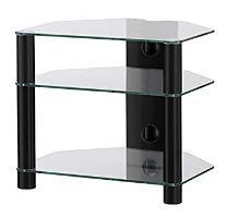 RX 2130 C SMK - hifi stolek 3 police, černý, čirá skla
