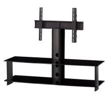 PL 2000 C - BLK - stolek 2 police, černý, čirá skla