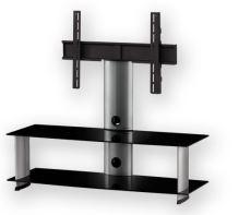PL 2100 B - SLV - stolek 2 police, stříbrný, černá skla