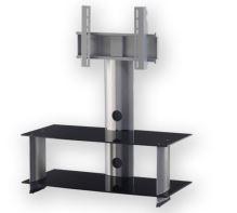 PL 2195 B - SLV - stolek 2 police, stříbrný, černá skla