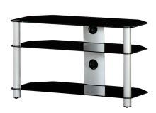 NEO 390 B-SLV - stolek 3 police, černá skla - stříbrné nohy