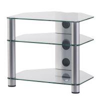 RX 2130 C SLV - hifi stolek 3police, stříbrný, čirá skla