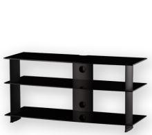 PL 3100 B-HBLK - stolek 3 police, černá skla - černé nohy