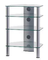 RX 2140 C SLV - hifi stolek 4 police, stříbrný, čirá skla