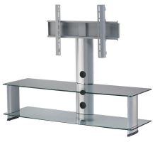 PL 2000 C - SLV - stolek 2 police, stříbrný, čirá skla