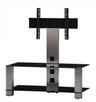 PL 2495 B-INX - stolek 2 police, černá skla - nerezové nohy
