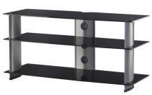 PL 3100 B-SLV - stolek 3 police, černá skla - stříbrné nohy