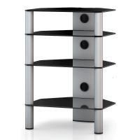 RX 2140 B SLV - hifi stolek 4 police, stříbrný, černá skla