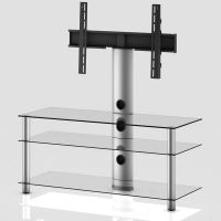 NEO 1103 C-SLV  stolek 3 police, čirá skla - stříbrné nohy