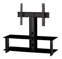 PL 2100 B - HBLK - stolek 2 police,černá skla - černé nohy