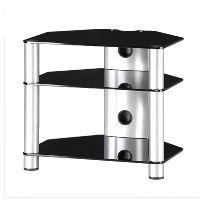 RX 2130 B-SLV - hifi stolek 3 police, stříbrný, černá skla