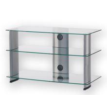 PL 3105 C-SLV - stolek 3 police,čirá skla - stříbrné nohy