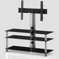 NEO 1103 B-SLV  stolek 3 police, černá skla - stříbrné nohy