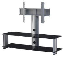 PL 2000 B - SLV - stolek 2 police, stříbrný, černá skla