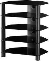 RX 2150 B-HBLK - hifi stolek 5 polic,černá skla, černé nohy-lesk